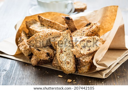 Cantuccini cookies in a paper bag - stock photo