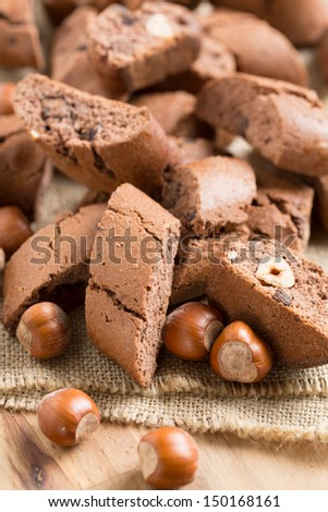 Cantuccini with cocoa and hazelnuts, typical biscuits of Tuscany