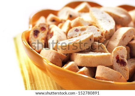 Cantuccini with peanuts, dried apricots and raisins closeup
