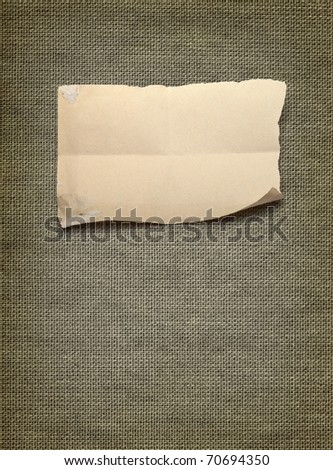 canvas background with piece of paper - stock photo