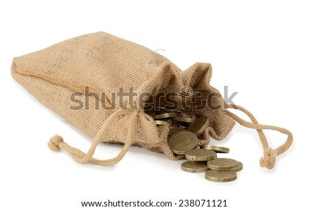 Canvas bag of money with  coins on isolated on white. - stock photo