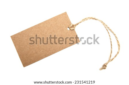 Canvas empty price tag on a  white  background - stock photo