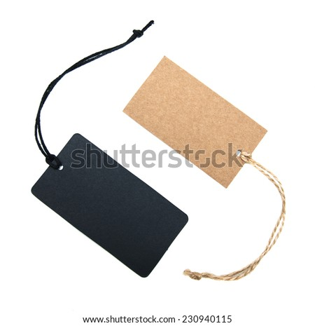 Canvas empty price tags on a  white  background - stock photo