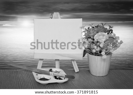 canvas frame and watercolor with flare light ocean background - stock photo