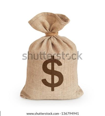 Canvas money sack - stock photo
