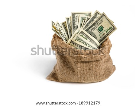 Canvas money sack / studio photography of bag with hundred dollar bills