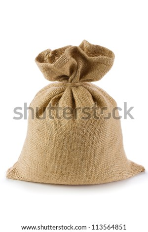 Canvas money sack with empty space - stock photo