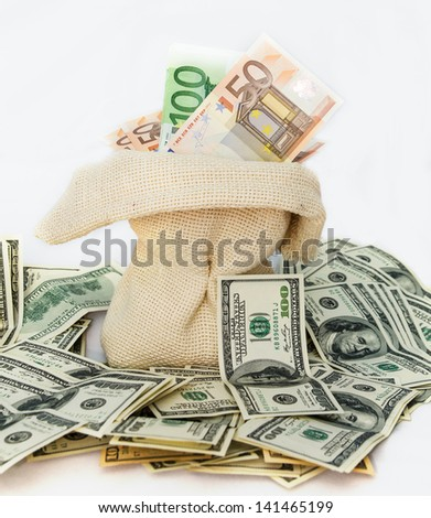 Canvas money sack with one hundred dollar isolated on white background