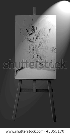 canvas on a wooden tripod - stock photo