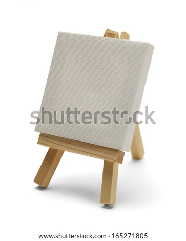 Canvas On Easel Isolated on White Background.
