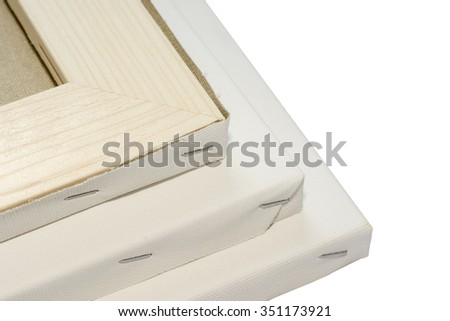 Canvas on wooden frame, stretcher bar frames  isolated on white - stock photo