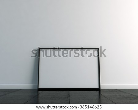 Canvas template on the floor with a white wall. 3d render