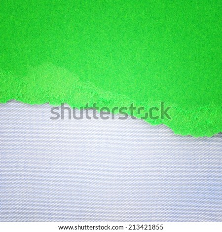 Canvas texture background with delicate stripes pattern and green torn paper