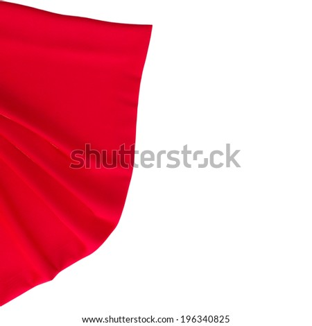 Canvas texture isolated on white background. Red checked tablecloth view from top. Empty tablecloth for product montage. Free space for your text  - stock photo