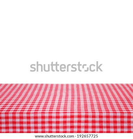 Canvas texture or background on the table. Red checked tablecloth view from top. Empty tablecloth for product montage. Free space for your text  - stock photo