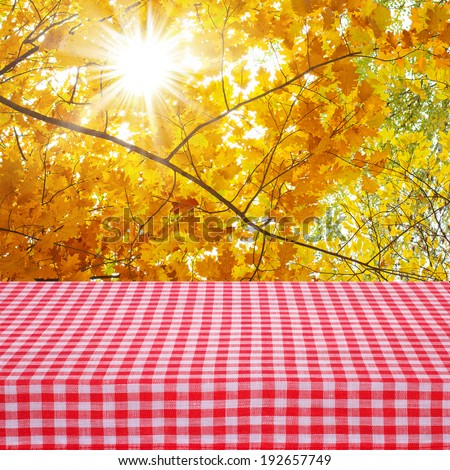Canvas texture or background. Red checked tablecloth view from top. Empty tablecloth for product montage. Autumn Landscape. Free space for your text  - stock photo