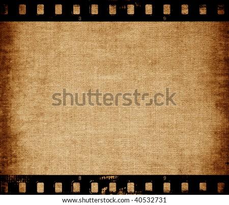 Canvas texture with film strip border - stock photo