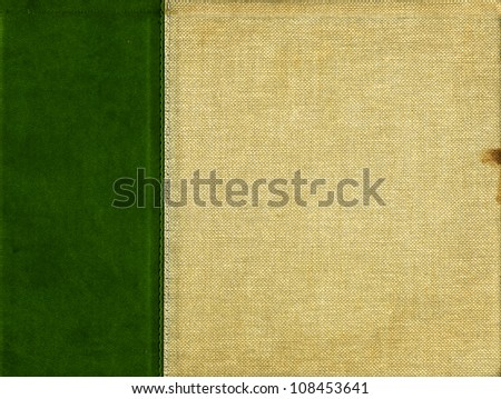 Canvas with dark green leather strip and stitching