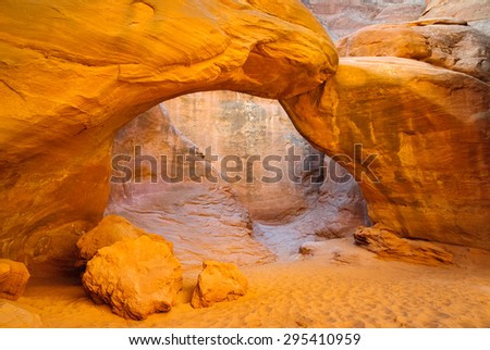 Canyon Arch at Arches National Park - stock photo