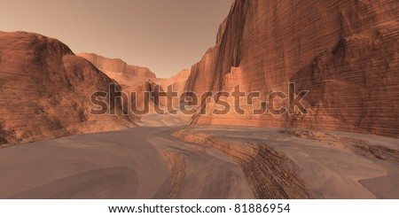 Canyon Complex on Mars - stock photo