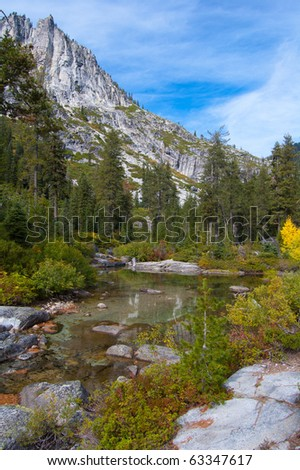 Canyon Creek near mountainside with beautiful reflection of trees
