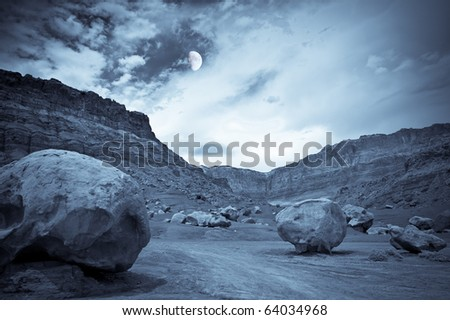 Canyon in the moonlight - stock photo