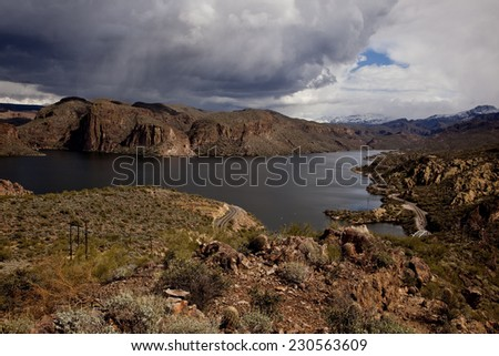 Canyon Lake reservoir on the Salt River in the Tonto National Forest near  Phoenix Arizona. - stock photo