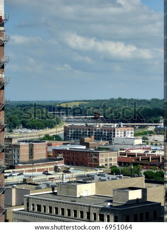 Canyon like View between Skyscrapers in downtown of Des Moines, Iowa, USA - stock photo