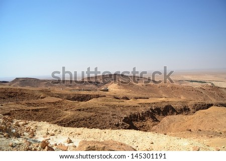 Canyon Mides - the border between Tunisia and Algeria, Africa - stock photo