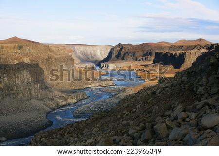 Canyon near Dettifoss waterfall, Iceland - stock photo