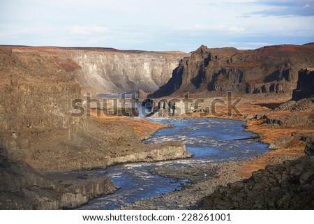Canyon near Dettifoss waterfall in autumn, Iceland - stock photo