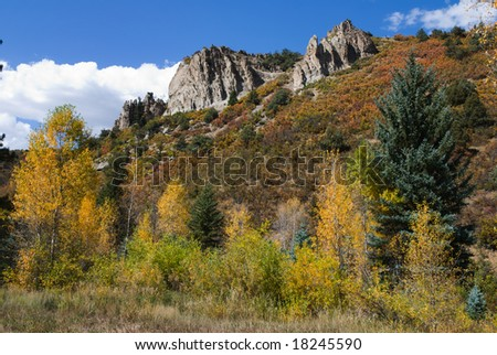 Canyon near Erikson Springs resort on road over Kebler Pass, Colorado - stock photo