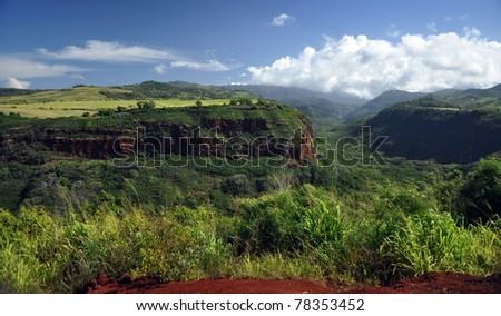 canyon on Kauai, Hawaii - stock photo
