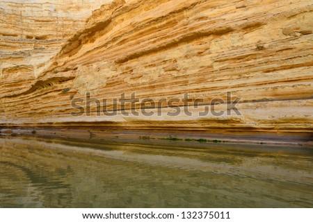 Canyon river in the National park Ein Avdat. Negev Desert. Israel - stock photo