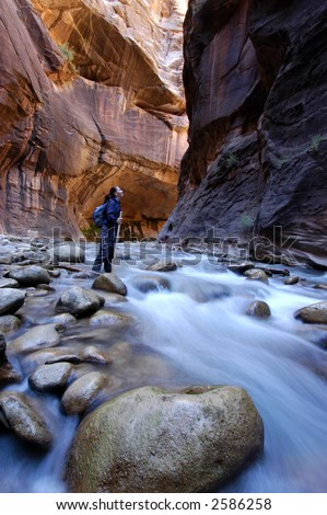 Canyoneering in the Narrows, Zion - stock photo