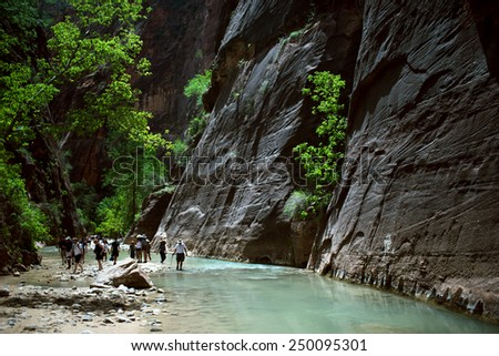 Canyoning in the Narrows, Zion Canyon - stock photo