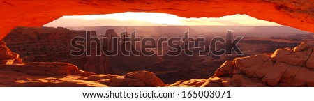 Canyonlands 01 Mesa Arch Sunrise Panorama Utah - stock photo