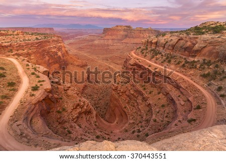 Canyonlands National Park, Moab at sunset - stock photo