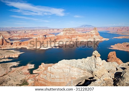 Canyons and rock formations at Lake Powell.