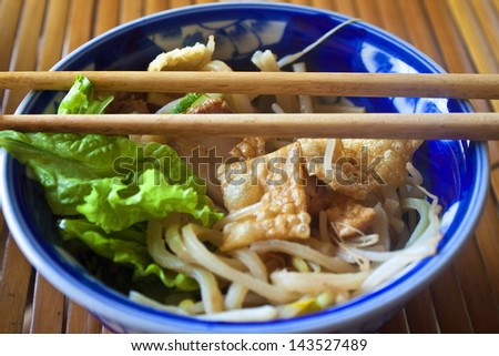 Cao Lau, traditional meal in Hoi An, Vietnam - stock photo