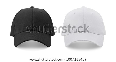 Cap isolated on white background. Black and White. Front view.