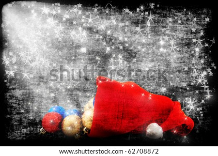 Cap of Santa  with Christmas decorations - stock photo