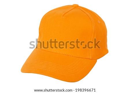 Cap  - Orange / Orange Sports Cap Isolated on White Background - stock photo