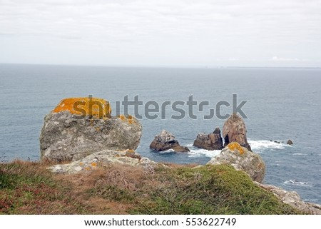 Cap Sizun, rocks and lichen (Finistere, Brittany, France)