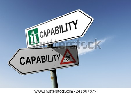 Capability directions. Choice for easy way or hard way. - stock photo
