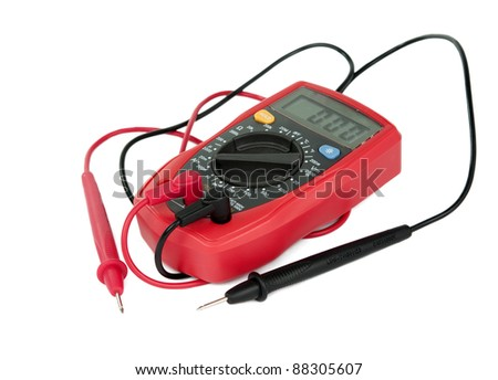 capacitance meters on a white background - stock photo