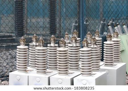 Capacitor bank - stock photo