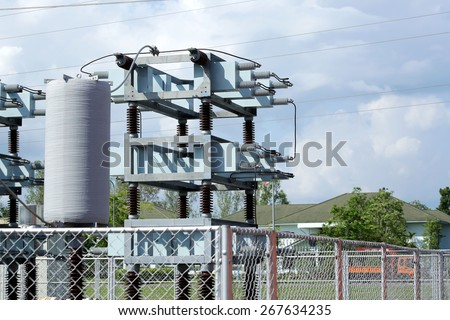Capacitor bank of power switchgear - stock photo