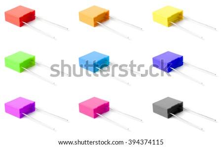 Capacitor set isolated on white background. - stock photo