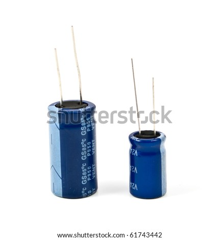 capacitors on a white background - stock photo